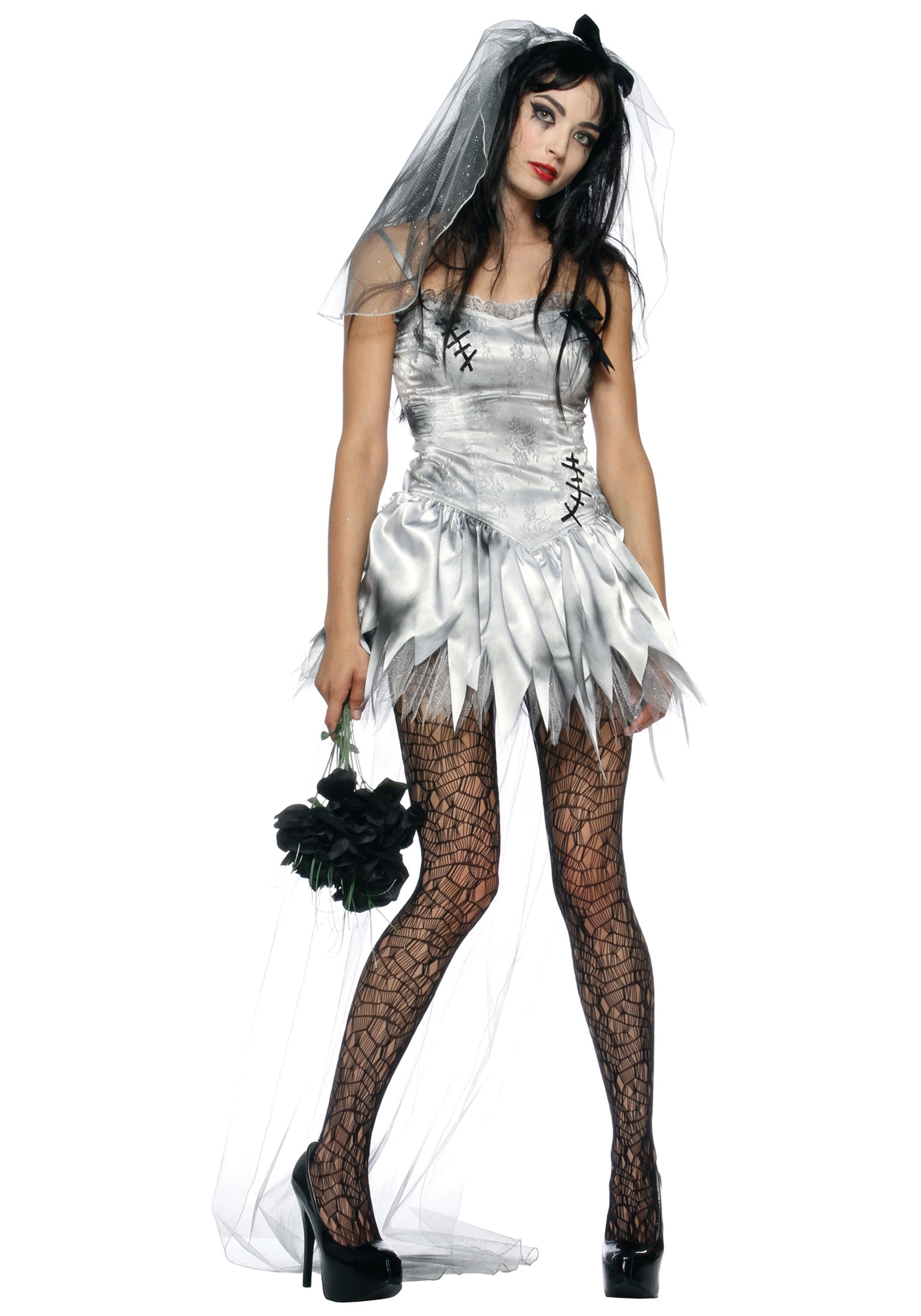 Sexy zombie wedding dress zombie bride costumes for Sexy wedding dress costume