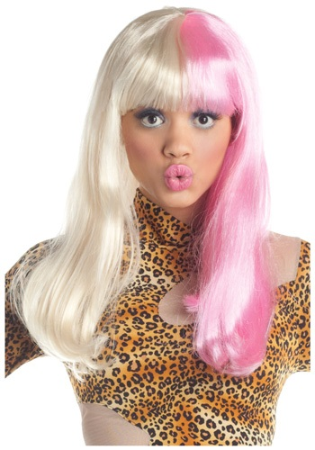 Womens Pink and White Diva Rapper Wig