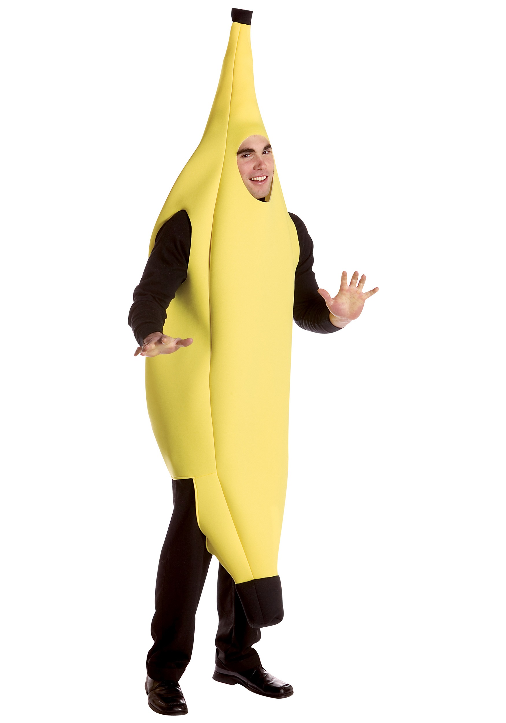 Slip into the adult deluxe banana costume, just as you would on the peel, ...