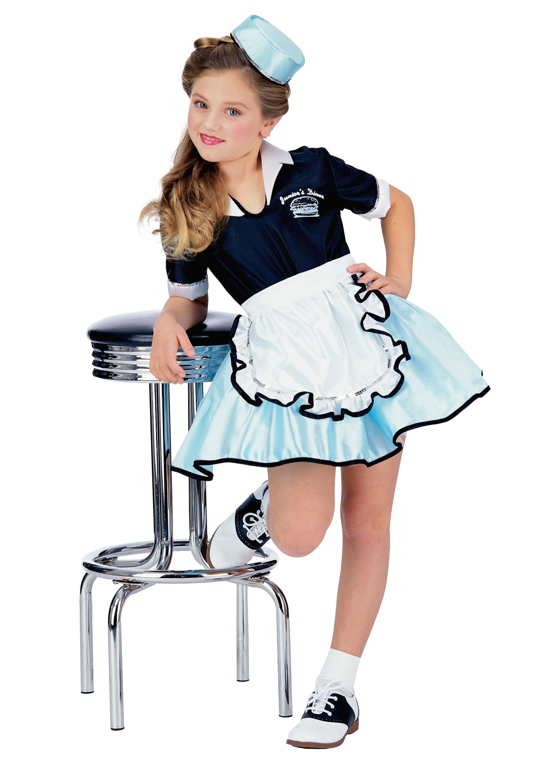 Girls 50s Car Hop Waitress Costume  sc 1 st  Halloween Costume Ideas & Kids Car Hop Girl Costume - Kids Car Hop 50s Costumes