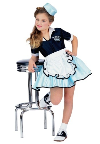 Girls 50s Car Hop Waitress Costume