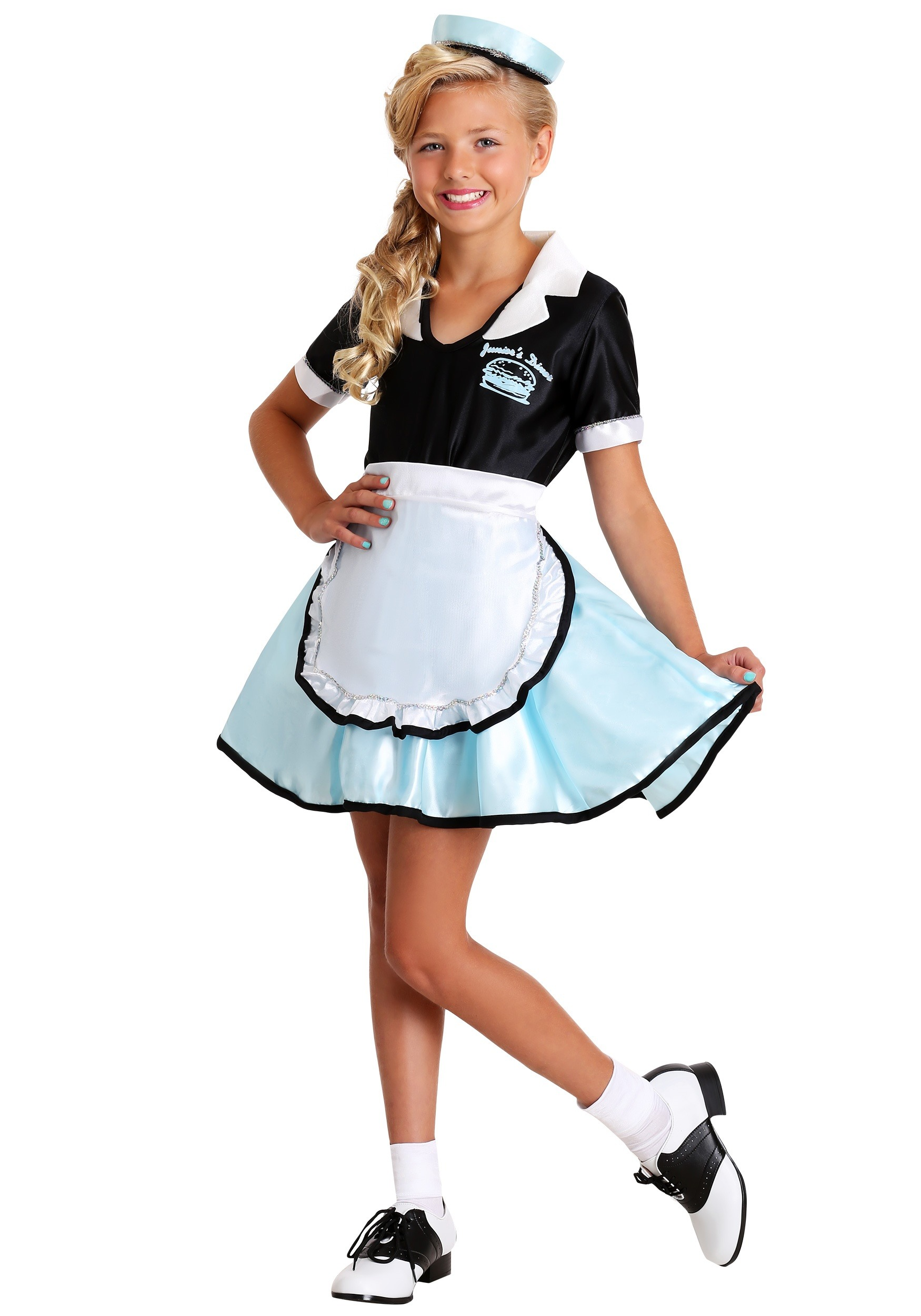 1950s Diner Car Hop Girl Outfit Adult Costume