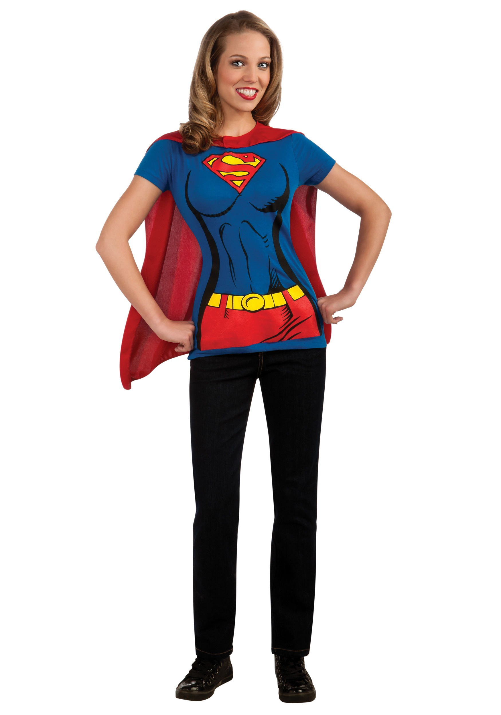 Supergirl T-Shirt Costume For Women - Easy Superhero - Super Easy Halloween Costumes