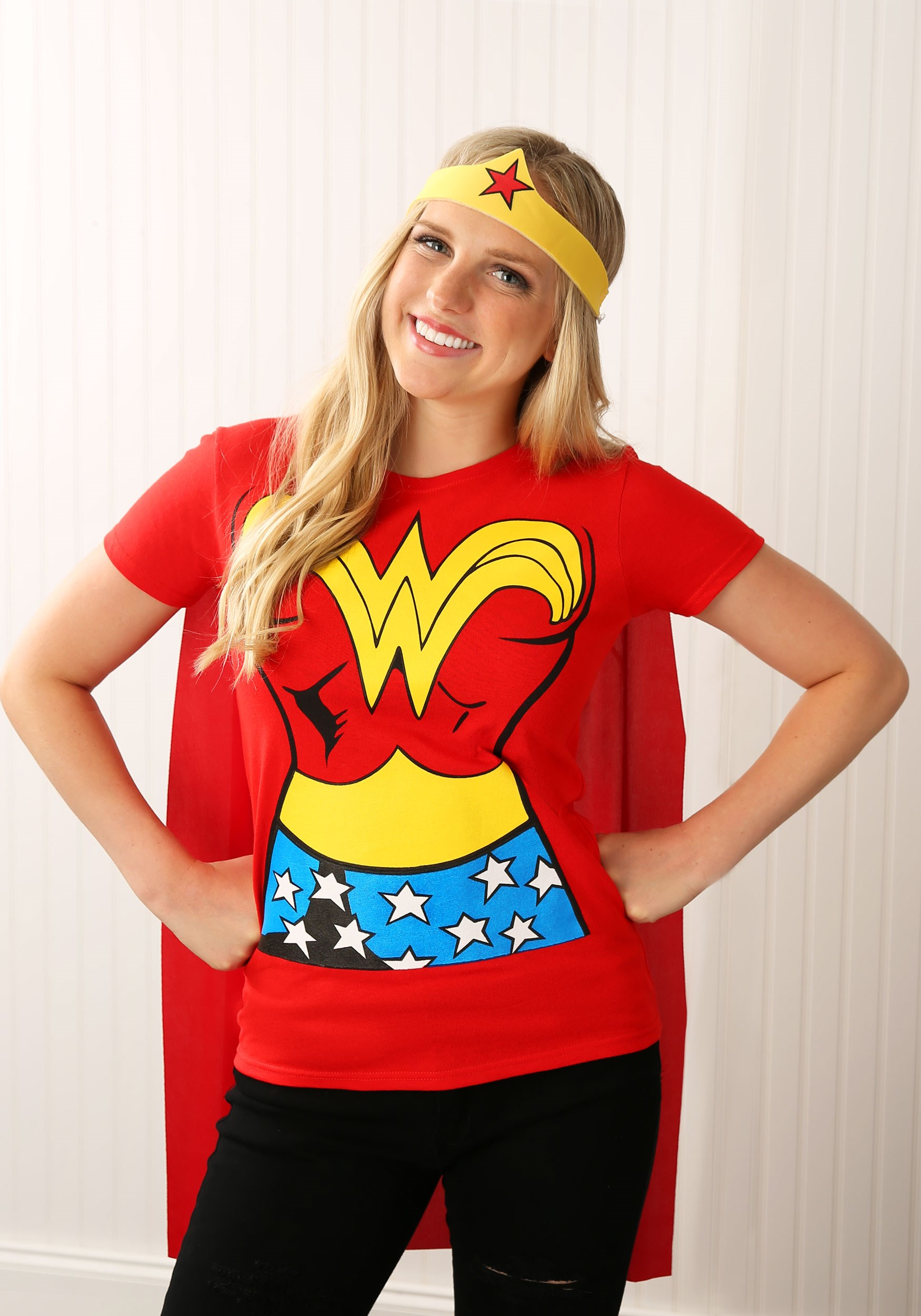 Wonder woman t shirt costume for adults adult wonder for Diy halloween costumes for adult women