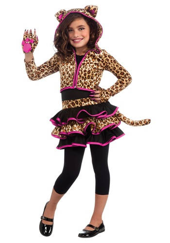 Girls Leopard Hooded Costume