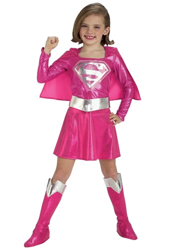 cartoon girl superhero. Girls Pink Supergirl Costume