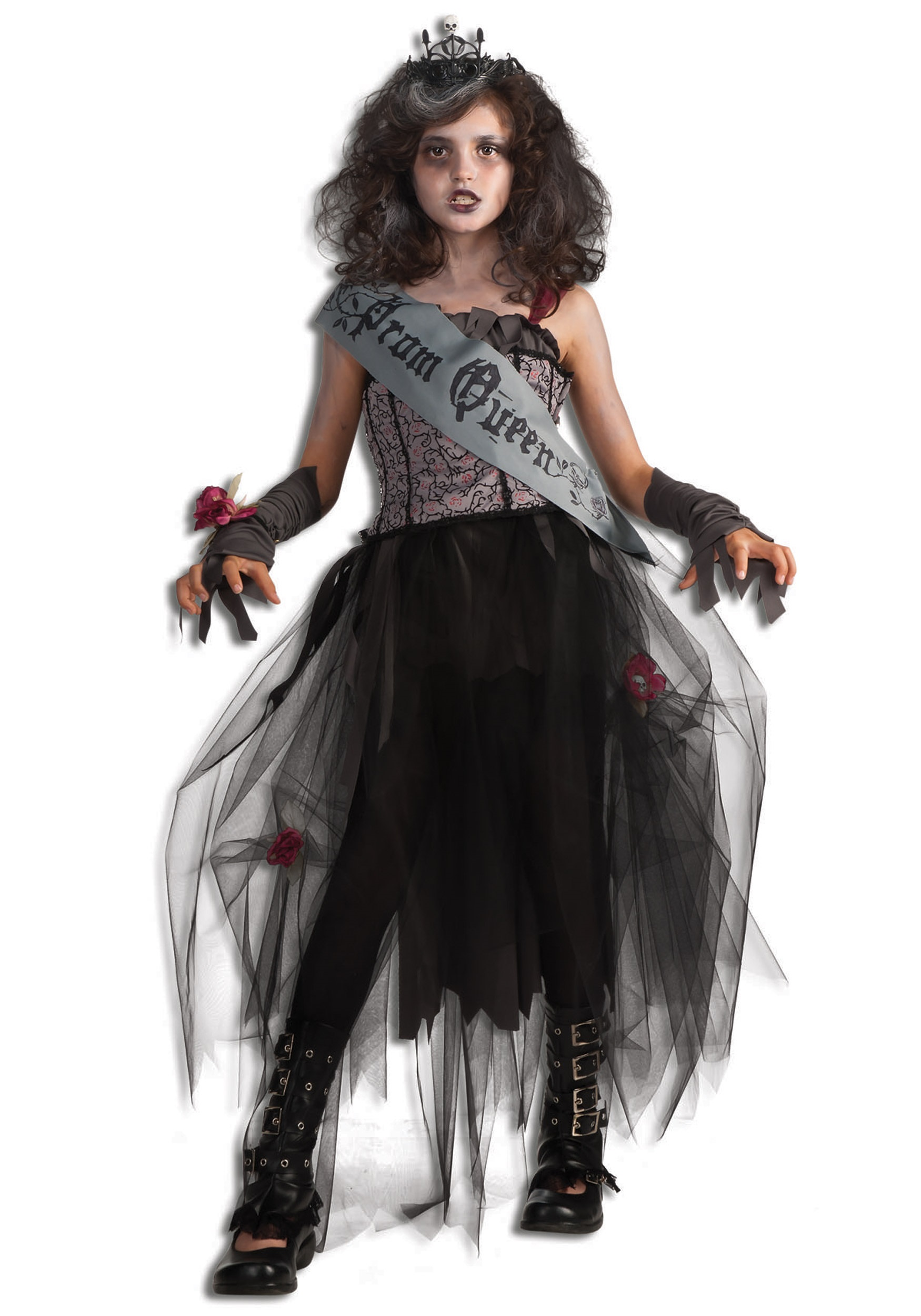 girls zombie prom queen - gothic halloween costumes for kids